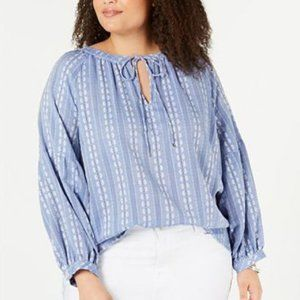Tommy Hilfiger Blue Embroidered Peasant Blouse L